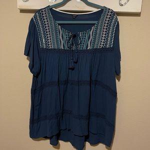 Cherokee - blue peasant / boho blouse